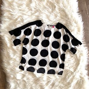 Vince Camuto Polka Dot High Low Blouse Sz PL